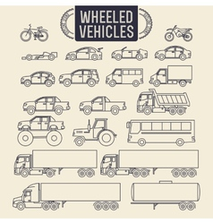 Wheeled vehicles icons vector