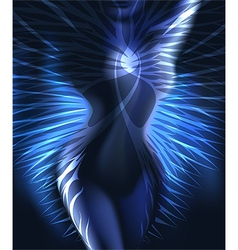 The winged body in blue vector