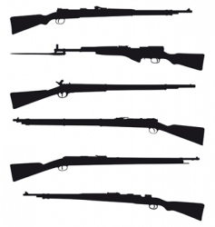 Six old shotguns vector