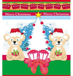 Bear in santa claus hat vector
