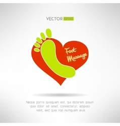 Feet massage sign and foot logo on top of a red vector