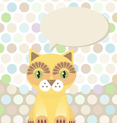 Polka dot background pattern funny cute red cat on vector