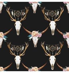Watercolor pattern with deer head vector