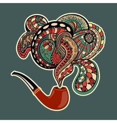 Pipe with smoke ornaments and curls vector