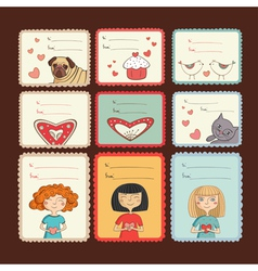 Gift tags with love on brown background vector