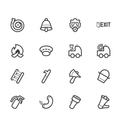 Fireman element icon set on white backgroun vector