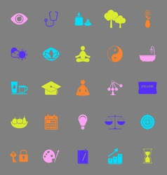 Meditation color icons on gray background vector