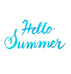 Handwritten blue watercolor calligrapical summer vector
