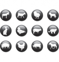 Farm animals buttons vector