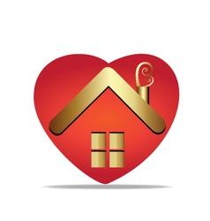House and heart symbol logo vector