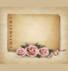 Retro background with beautiful pink rose and old vector