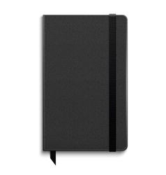 Black copybook with elastic band vector