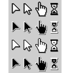 Cursor icon set mouse hand arrow hourglass vector