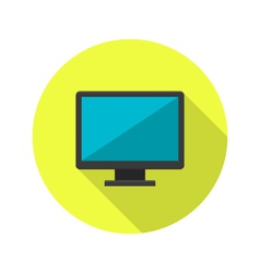 Pc display icon over green vector