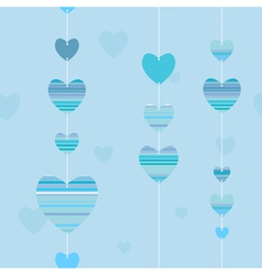 Valentine pattern with striped hearts in blue vector