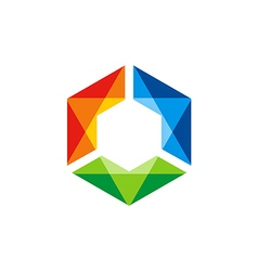 Triangle colorful prism gem technology logo vector