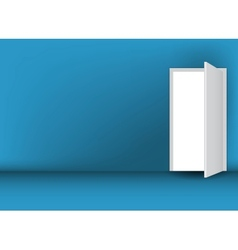Open white door on a green wall vector