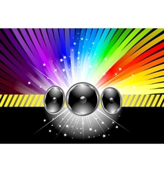 Discotheque banner template with rainbow vector