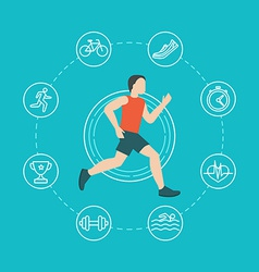 Running and jogging infographics concept vector
