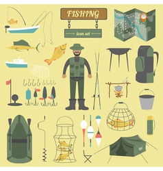 Fishing equipment icon set vector