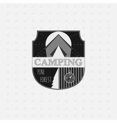 Outdoor adventure badge and forest logo emblem vector