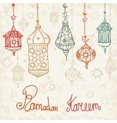 Lantern of ramadan kareemdoodle card vector