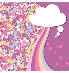 Background with doodle cute kawaii vector