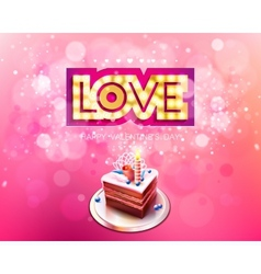 Gold inscription love with glowing lamps and cake vector