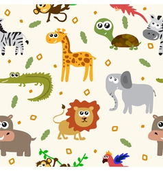 African animals seamless pattern cartoon childish vector