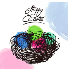 Vintage easter background hand drawn sketch vector