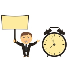 Businessman with board in hand clock vector