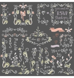 Colored doodles floral decor setborderselements vector