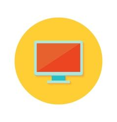 Pc display icon over orange vector