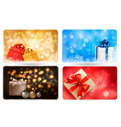Collection of christmas backgrounds with gift box vector