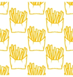 Seamless pattern of boxes of french fries vector