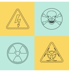 Flat thin line warning signs symbols vector