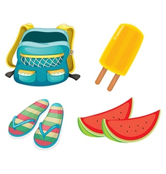 A backpack a pair of slippers and foods for vector