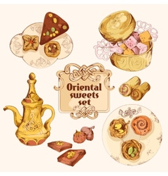 Oriental sweets colored set vector