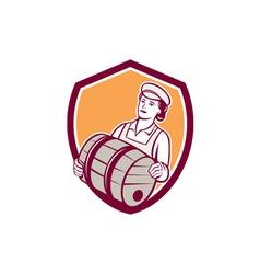 Female bartender carrying keg shield retro vector