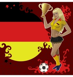 Football poster with girl and german flag vector