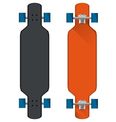 Flat of colored longboards vector