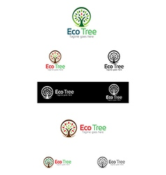 Eco tree logo templates vector