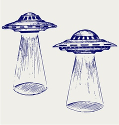 Space flying saucer vector