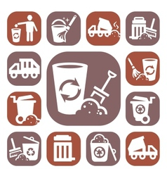 Color garbage icons vector