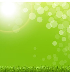 Abstract green bubble with grass and sun vector