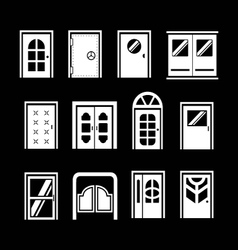 Set icons of doors vector