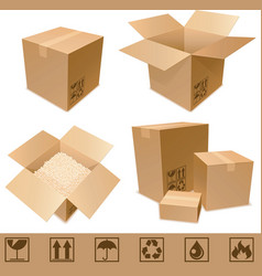 Cardboard boxes vector