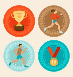 Achievement badges in flat style vector