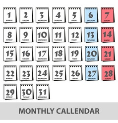 Monthly wall calendars with days icons set eps10 vector