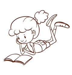 A simple sketch of a girl reading vector